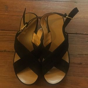J.Crew black suede wedges, in perfect condition